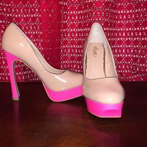 Tan & Hot Pink High Heels